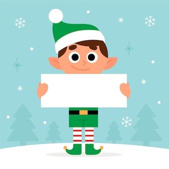 Personagem de natal segurando bandeira em branco