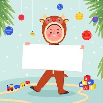Personagem de natal segurando maquete de banner