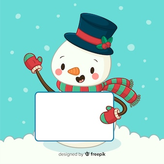 Personagem de natal segurando o cartão vazio branco