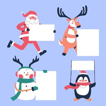Personagem de natal segurando uma coleção de faixas em branco