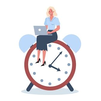 Personagem de negócios com um relógio. efetividade e planejamento do trabalho. conceito de gerenciamento de tempo produtivo. planejamento de tarefas, fazendo uma programação semanal.