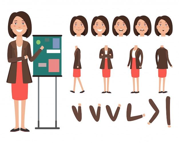 Personagem de negócios palestrante com diferentes poses, emoções