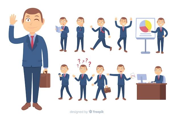 Personagem de negócios plana em diferentes posturas