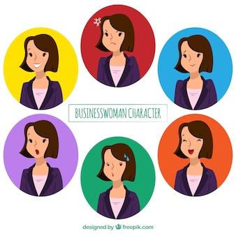 Personagem de negócios plano com expressões faciais