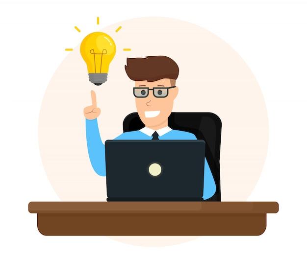 Personagem de negócios trabalhando com laptop, criando uma nova ideia de negócio.