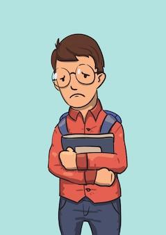 Personagem de nerd de escola de óculos, segurando livros. ilustração plana colorida. isolado no azul