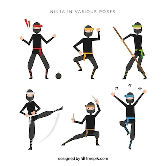 Personagem de ninja em poses diferentes com desing plana