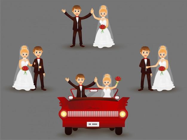 Personagem de noivos em poses diferentes.