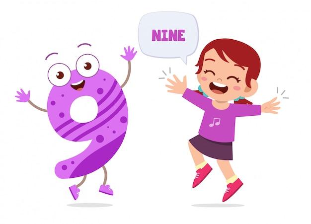 Personagem de número feliz feliz criança pequena estudo