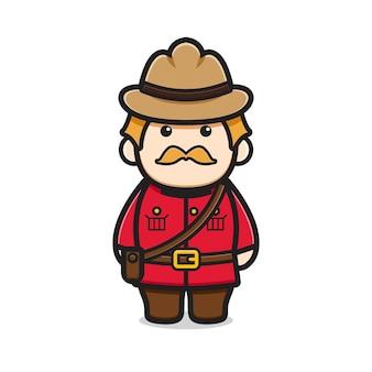 Personagem de oldman bonito celebrou a ilustração do ícone do vetor dos desenhos animados do dia do canadá. design isolado no branco. estilo liso dos desenhos animados.
