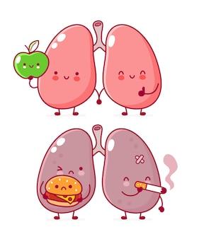 Personagem de órgão de pulmão humano com hambúrguer e cigarro