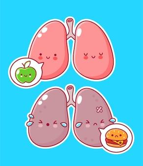 Personagem de órgão de pulmão humano com maçã e hambúrguer em balão de fala
