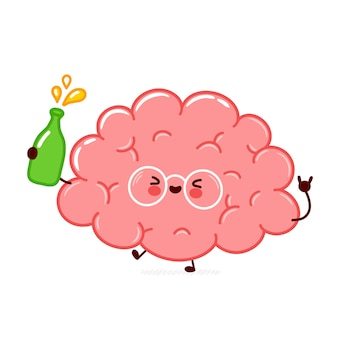 Personagem de órgão do cérebro humano engraçado bonito com garrafa de álcool. linha plana ícone de ilustração de personagem kawaii dos desenhos animados. isolado no fundo branco. conceito de personagem álcool bebida órgão cerebral