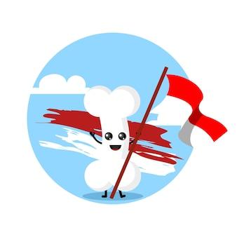 Personagem de osso com bandeira