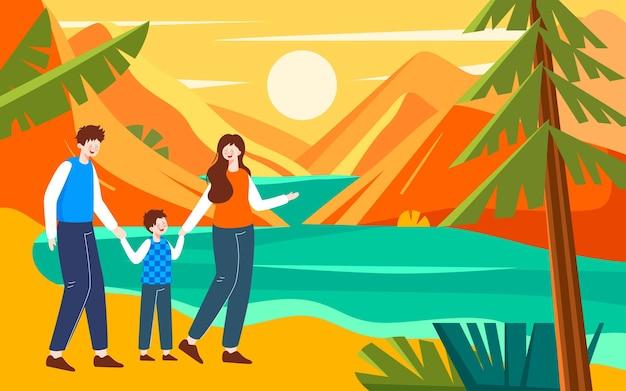 Personagem de outono ilustração de cena de passeio de outono cartaz de passeio em família no outono