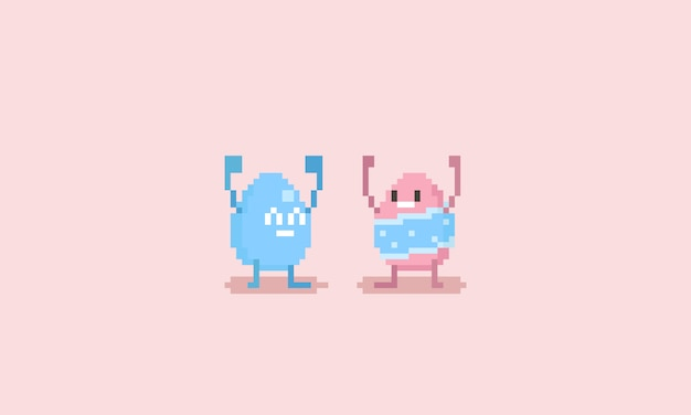Personagem de ovo de páscoa feliz pixel