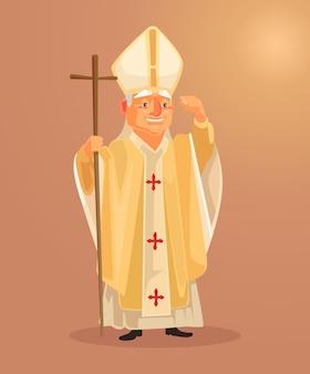 Personagem de padre católico feliz e sorridente