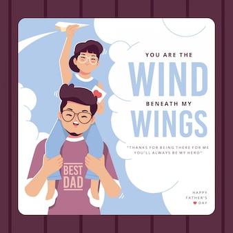 Personagem de pai e filha cartão