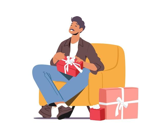 Personagem de pai feliz sentado na poltrona com uma caixa de presente nas mãos. comemoração de evento familiar, aniversário do pai, feriado do dia dos pais, natal, conceito de momentos de doce vida. ilustração em vetor de desenho animado