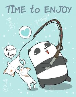 Personagem de panda pescador e gatos bonitos