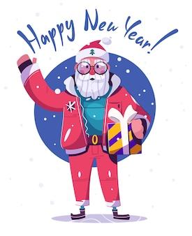 Personagem de papai noel com presentes. feliz ano novo e feliz natal