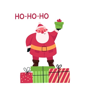 Personagem de papai noel de natal com caixa de presente