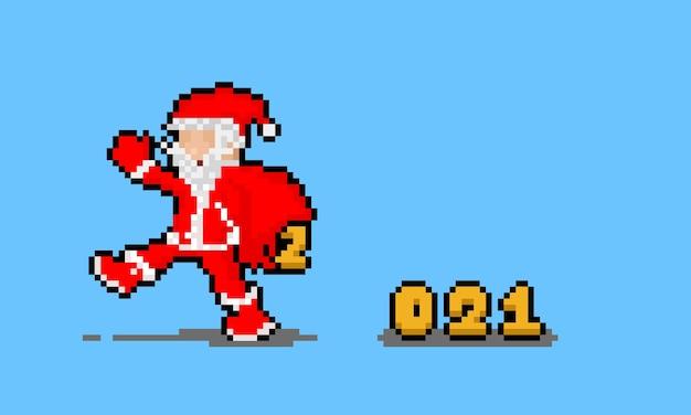 Personagem de papai noel dos desenhos animados de pixel art com número de ano novo caindo de um saco quebrado.