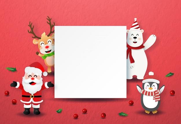 Personagem de papai noel e natal com rótulos em branco copyspace