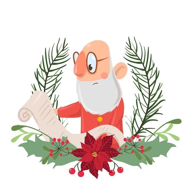 Personagem de papai noel lendo uma guirlanda de natal