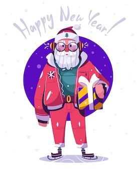Personagem de papai noel patinando com presentes. feliz ano novo e feliz natal