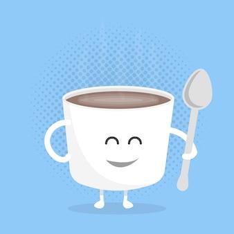 Personagem de papelão de menu de restaurante de crianças. modelo para seus projetos, sites, convites. café caneca engraçada bonito desenhada com um sorriso, olhos e mãos.