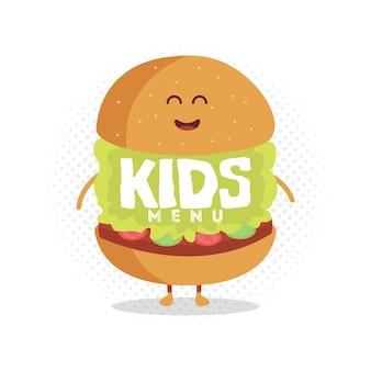 Personagem de papelão de menu de restaurante de crianças. modelo para seus projetos, sites, convites. hambúrguer engraçado bonito desenhado com um sorriso, olhos e mãos.