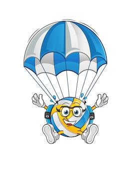 Personagem de paraquedismo de voleibol. mascote dos desenhos animados