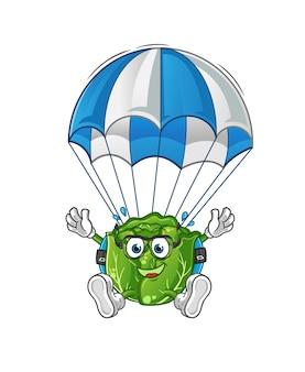Personagem de paraquedismo repolho