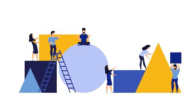 Personagem de parceria de organização criar quebra-cabeça geométrico com homem e mulher.