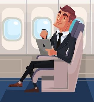 Personagem de passageiro sentado na cadeira e relaxando na classe executiva usando um tablet