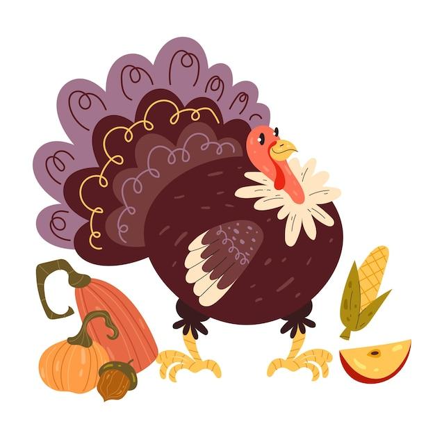 Personagem de pássaro peru feliz no dia de ação de graças com frutas e vegetais