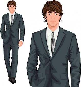 Personagem de pé jovem empresário