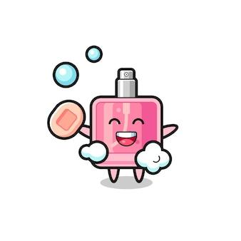 Personagem de perfume está tomando banho enquanto segura o sabonete, design de estilo fofo para camiseta, adesivo, elemento de logotipo