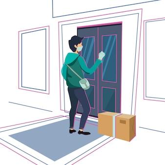 Personagem de personagem de desenho animado em vetor de arte de linha plana conceito de negócio no site de íconesconceito de entrega