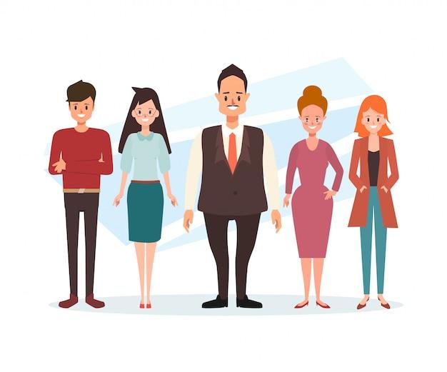 Personagem de pessoas de negócios em pé de trabalho em equipe.