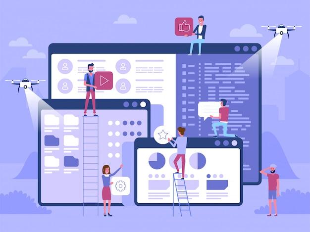 Personagem de pessoas decoradas tecnologia de negócios na web