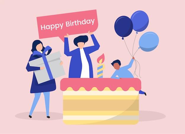 Personagem de pessoas e uma ilustração temática de festa de aniversário