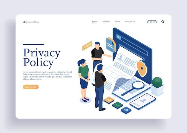 Personagem de pessoas inspecionando leitura de documentos de contrato política de privacidade e termos e condições