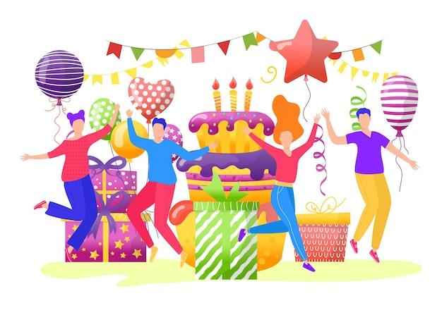 Personagem de pessoas jovem adolescente alegre juntos comemorar aniversário festa nascimento bolo com balão f ...