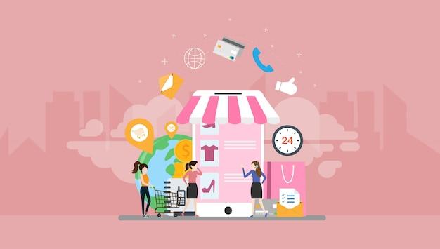 Personagem de pessoas pequenas compras on-line