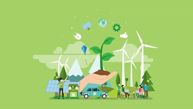 Personagem de pessoas pequenas de energia verde