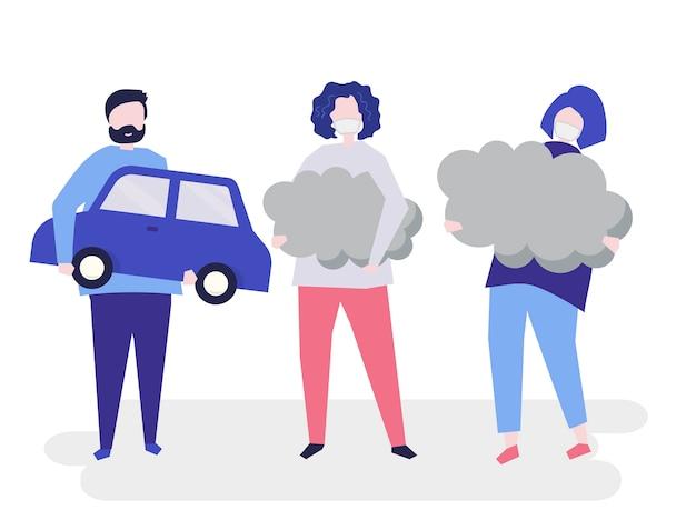 Personagem de pessoas segurando símbolos de poluição do ar