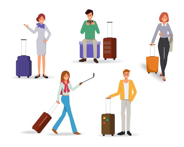 Personagem de pessoas viajando em férias de verão com a mala de viagem.