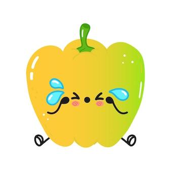 Personagem de pimenta colorida fofa e triste